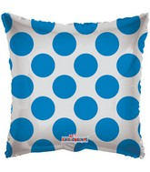 "18"" Solid Square with Blue Polka Dots"