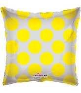 "18"" Solid Square with Yellow Polka Dots"