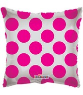 "18"" Solid Square with Pink Polka Dots"