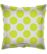 "18"" Solid Square with Green Polka Dots"