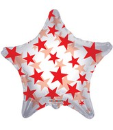 "22"" Red Patterned Star Clear Balloon"