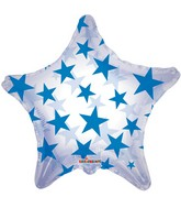 "22"" Blue Patterned Star Clear Balloon"