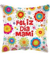"18"" Feliz Dia Mami Abstract Floral Balloon"