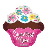 "22"" Sweetest Mom Cupcake Shape Balloon"