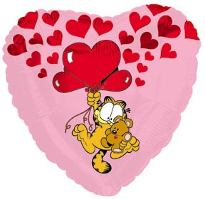 "18"" Garfield Pooky Floating Up With Hearts"