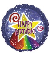"9"" Airfill Happy Birthday Watercolor Star M13"