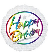 "9"" Airfill Happy Birthday Rainbow M14"