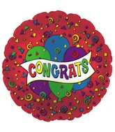 "9"" Airfill Congrats Red Graphic Balloons M16"