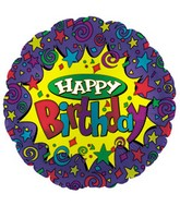 "9"" Airfill Happy Birthday Yellow Burst M22"