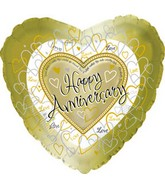 "18"" Happy Aniversary Gold Hearts"