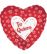 "18"" Te Quiero Red w/ White Hearts 5P"