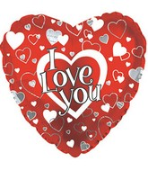 "9"" Airfill I Love You Silver & White Hearts M78"