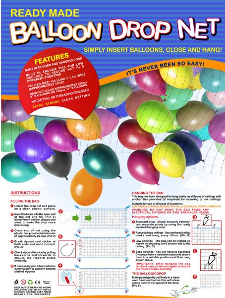 Balloon Drop Net and Kit Latex balloons