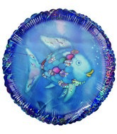 "18"" Religious Rainbow Fish Blue Holographic Balloon"