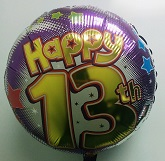 "18"" Happy 13th Swoosh Balloon"