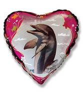 "18"" Dolphin Heart Mylar Balloon"