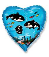 "18"" Whales Heart Mylar Balloon"