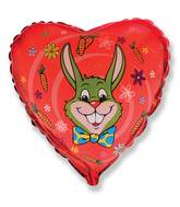 "18"" Red Heart Olive Green Rabbit Head Mylar Balloon"