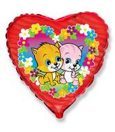 "18"" Fuchsia Heart Flower Cats Mylar Balloon"