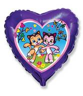 "18"" Purple Heart Happy Cats Friends Balloon"