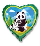 "18"" Pandas Heart Mylar Balloon"