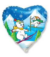"18"" Ski Polar Bears Mylar Balloon"