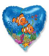 "18"" Clownfish Friend Heart Balloon"