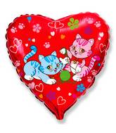 "18"" Red Heart Sweet Cats Mylar Balloon"