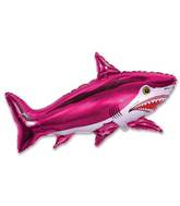 Airfill Only Strong Shark Fucshia Balloon