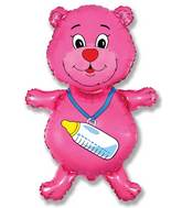 "37"" Fuchsia Bear with Bottle"