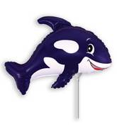 Airfill Only Black Friendly Whale Balloon
