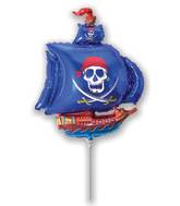 Airfill Only Blue Pirate Ship Balloon