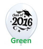 "11"" Class of 2016 Grad Cap Green (50 Ct)"