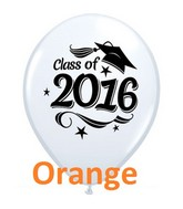 "11"" Class of 2016 Grad Cap Orange (50 Ct)"