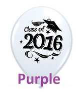 "11"" Class of 2016 Grad Cap Purple  (50 Ct)"