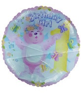 "18"" Birthday Girl 1st Birthday Pink Bear foil balloon"