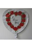 "18"" I Love You Roses Wreath Heart Shape Balloon"