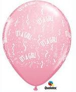 "11"" It&#39s a girl 25 CT Balloons"