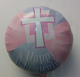 "18"" Happy Christening Pink"