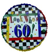 "18"" Look who&#39s 60 Colorful Checkered Foil Balloon"