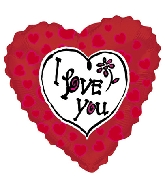 "36"" I Love You Flowers Red Balloon"