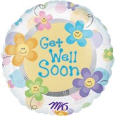 "30"" Get Well Soon Smiley Flower Mylar Balloon"