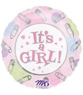 32'' It's A Girl Safety Pins Balloon (Clip A Strip)