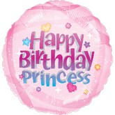 "18"" Happy Birthday Princess Pink Balloon"