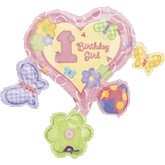 "33"" First Birthday Girl  Super Shape Mylar Balloon"