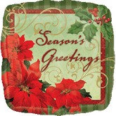 "18"" Vintage Poinsettia Season&#39s Greetings"