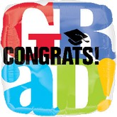 "18"" Congrats Grad Colorful Square Balloon"