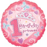 "18"" First Birthday Princess Mylar Balloon"