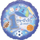 "18"" First Birthday All-Star Mylar Balloon"