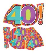 "29"" Mylar Jumbo Number 40! Balloon"
